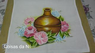 pano de copa com pintura de moringa e rosas