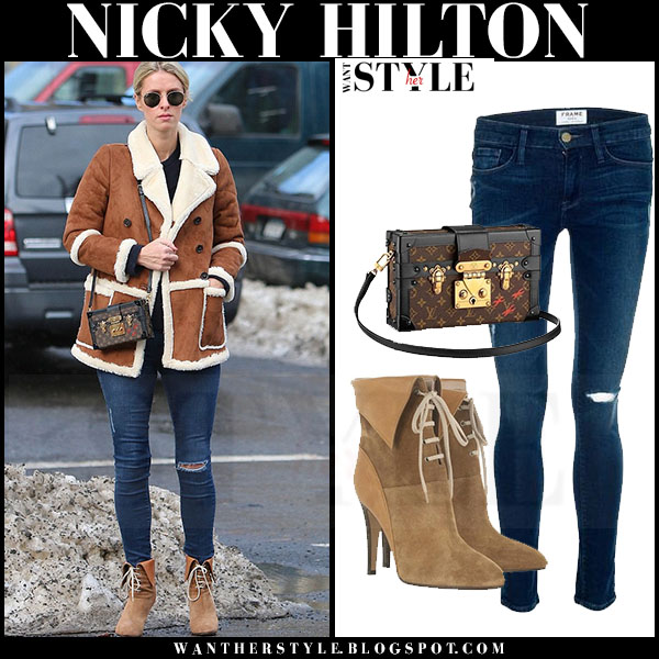 Nicky Hilton in brown shearling jacket, skinny frame denim jeans and suede ankle boots chloe catlyn what she wore