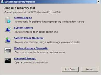 System Recovery Option Windows 7