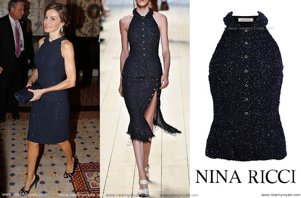 Queen Letizia Style - Nina Ricci Spring 2015 Marine Fonce Sleeveless Sequined Tweed Jacket - Dress