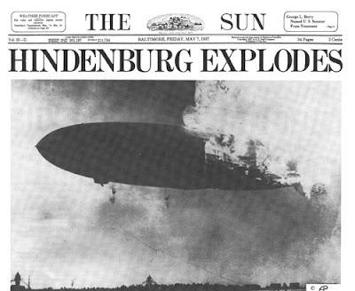La explosión del Hindenburg, portada del periódico
