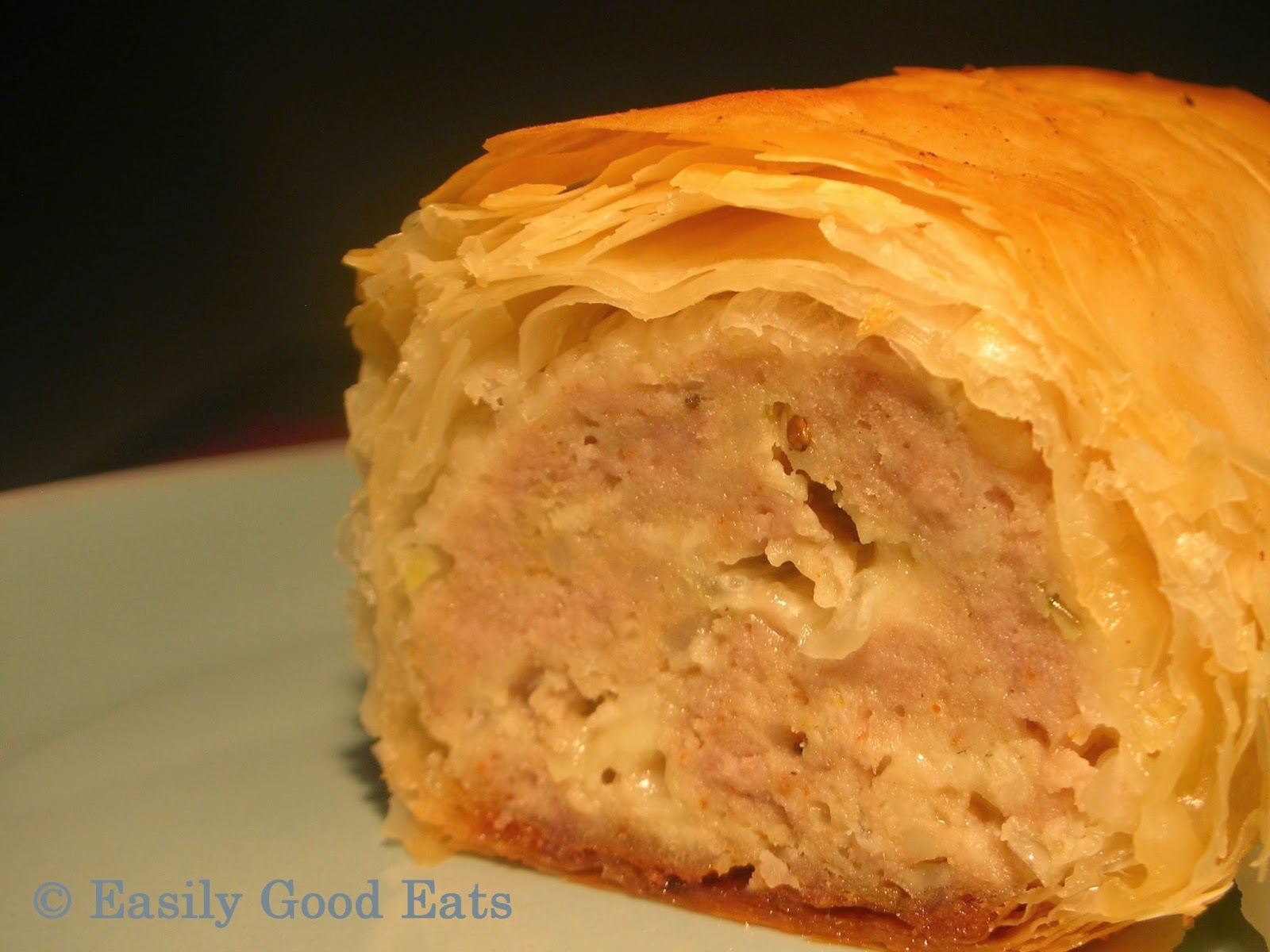 Easily Good Eats Cheesy Filo Sausage Roll Recipe