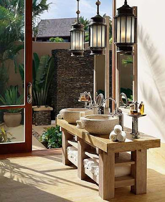 Sebahagian kamar mandi Beach Villa di Four Seasons Resort