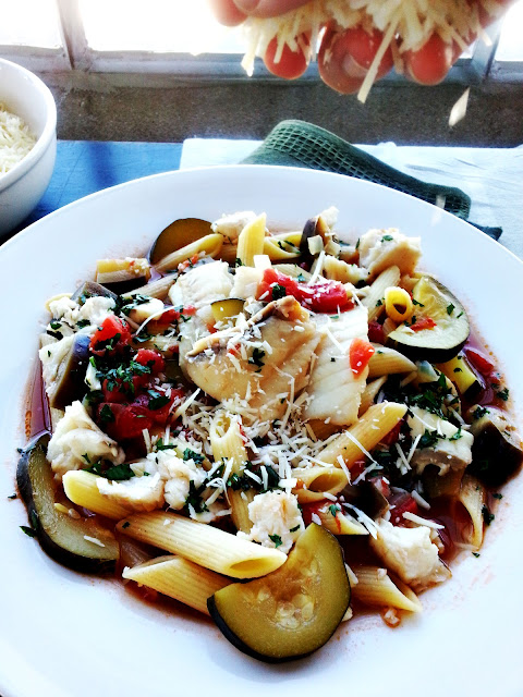 rigatoni with sea bass and tomatoes