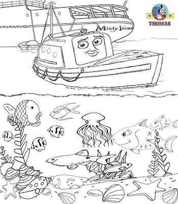 Thomas tank captain the life boat sea life tropical fish aquarium coloring book pages for children