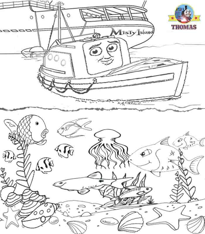 boat sea life tropical fish aquarium coloring book pages for children title - Under The Sea Coloring Pages 2