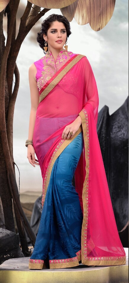 Navy Blue & Pink Chiffon Jacquard Saree With Raw Silk Blouse
