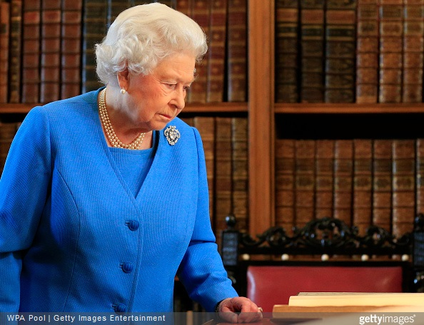 Queen Elizabeth II attends the launch of the George III Project at an event held in the Royal Library in Windsor Castle