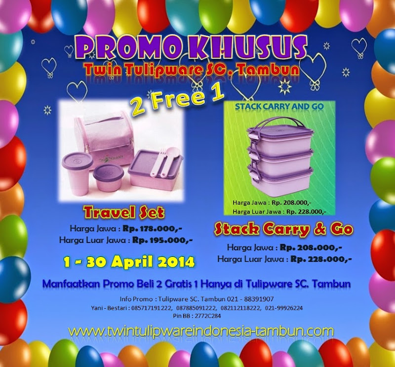Promo Khusus Tupperware Twin Tulipware SC. Tambun Bulan April 2014, Travel Set, Stack Carry & Go