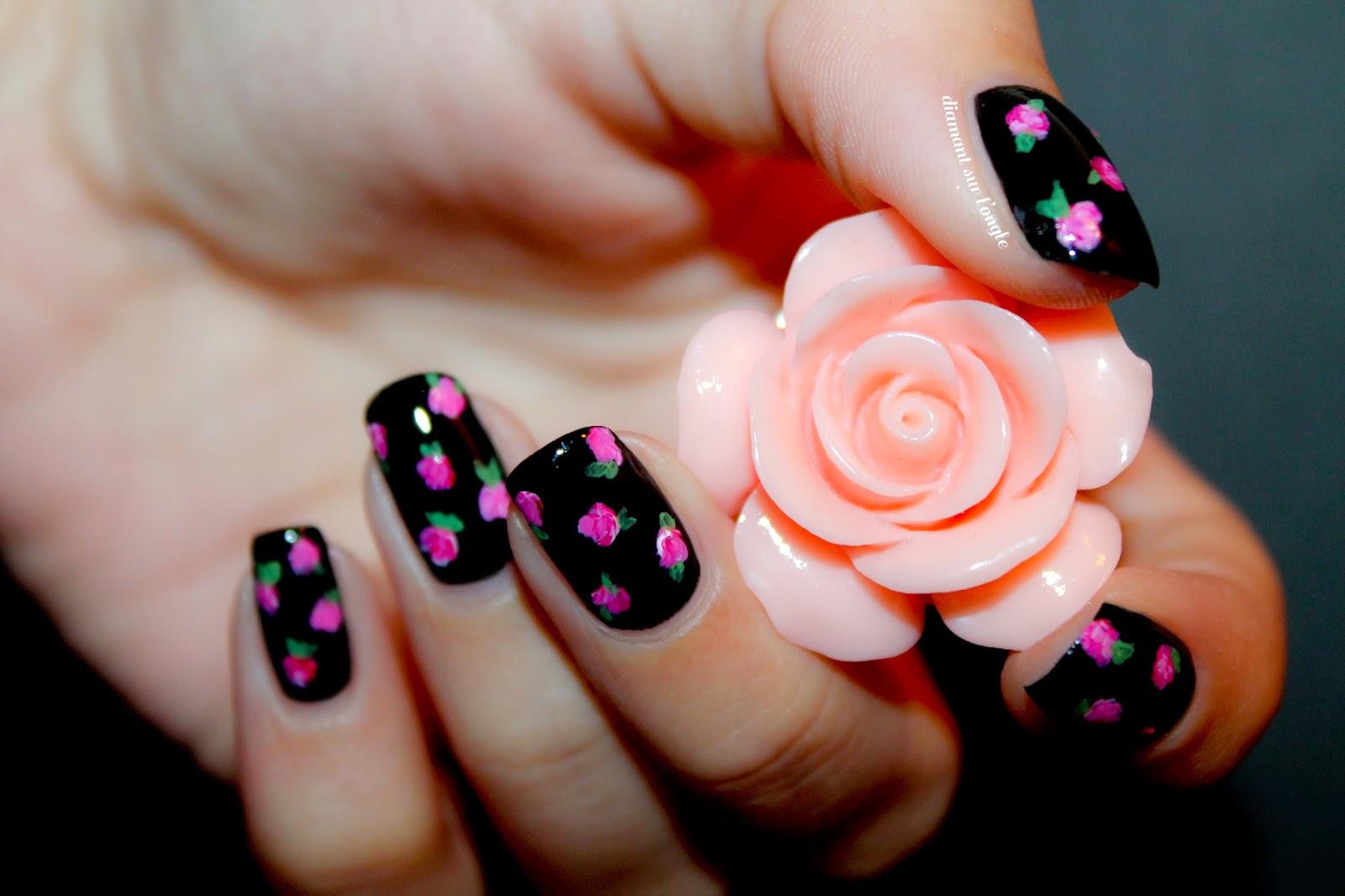Vintage Flowery Nail Art