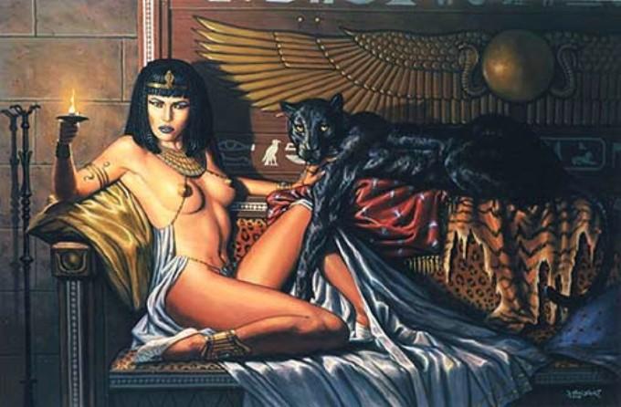 Cleopatra con pantera