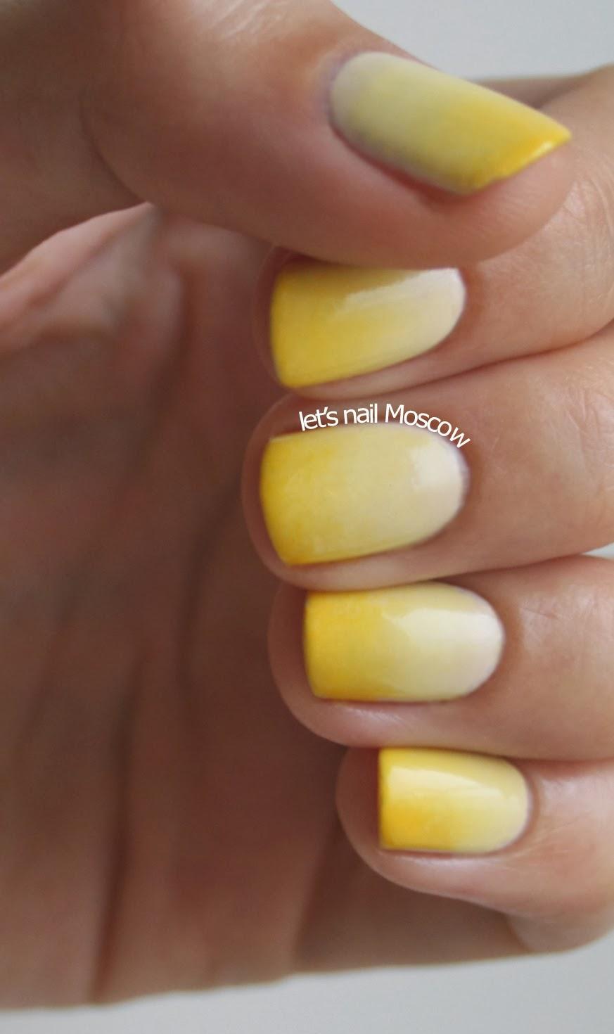 Сочетание желтого и белого маникюра