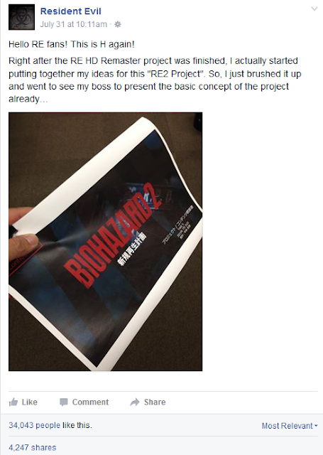Resident Evil 2 remake Facebook announcement