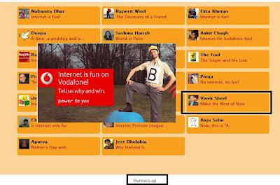 Runner's Up in Vodafone Blogging Contest