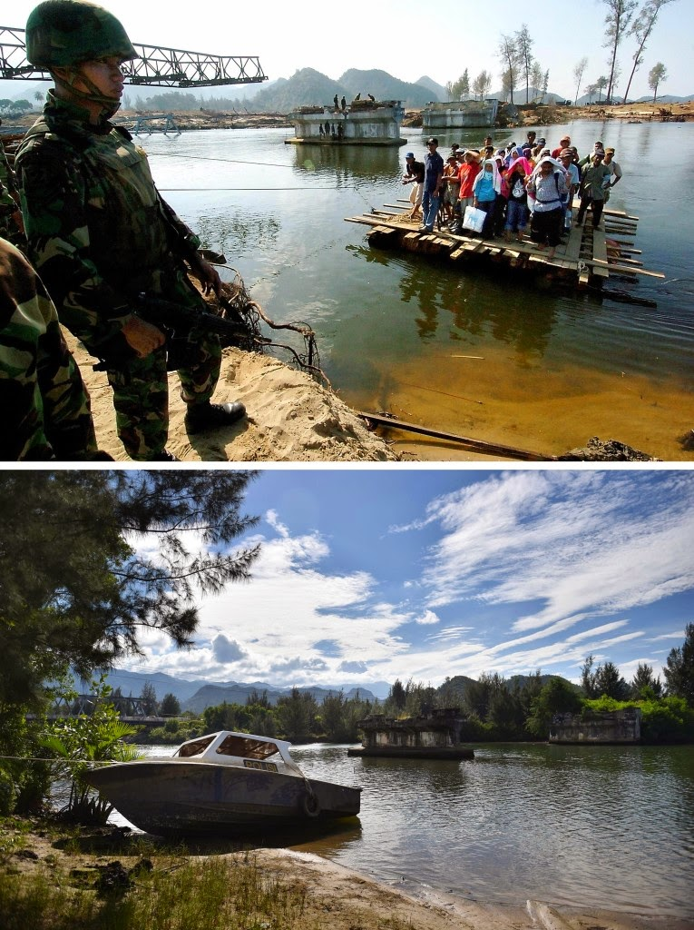 This combo shows a file photo, top, taken on Jan. 23, 2005 of residents using an improvised raft to cross a river as an Indonesian soldier guards the area in Lhoknga in Aceh province, located on Indonesia's Sumatra island where surrounding houses and buildings were heavily damaged and coastal villages wiped out in the aftermath of the massive Dec. 26, 2004 tsunami trigerred by an earthquake, and the same location photographed on Nov. 29, 2014, bottom, showing the abandoned site and a new bridge constructed nearby, back left. Indonesia will mark on Dec. 26, 2014 the 10th year anniversary of the deadly tsunami which killed more than 170,000 people in Aceh, and tens of thousands of others in other countries around the Indian Ocean. (AFP Photo/Jewel Samad (top) and Bay Ismoyo (bottom))