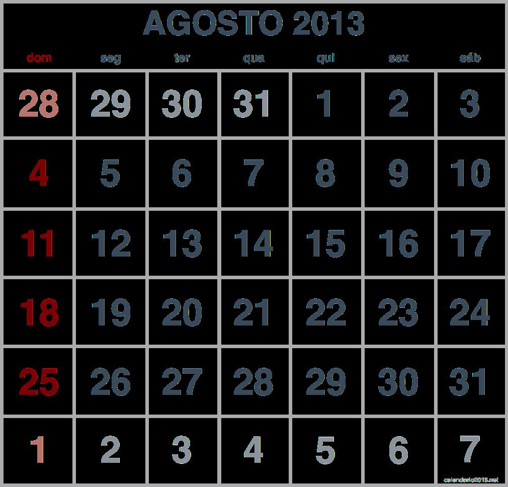 imagem calendario agosto 2013
