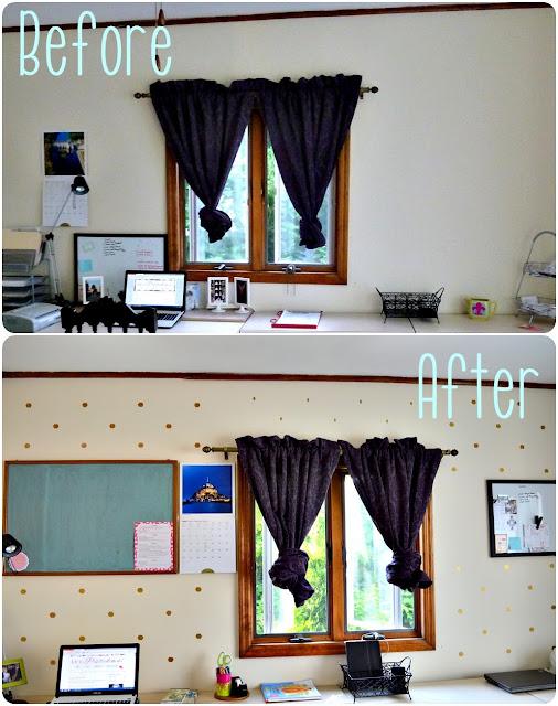 DIY gold polka dots or hexagon wall decals