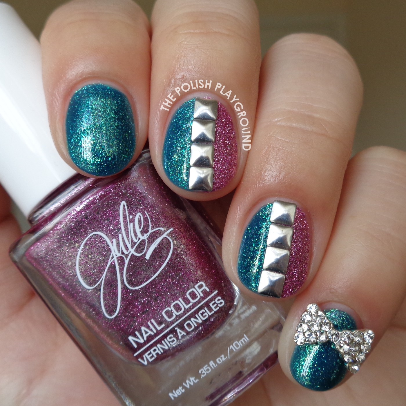 Texture and Square Studs Nail Art