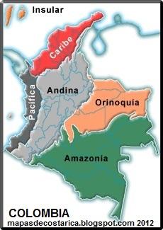 Mapa las regiones de COLOMBIA