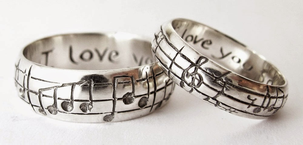 guy wedding rings sets musical hand engraved san diego - Guy Wedding Rings
