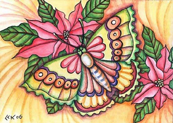 Tegning af julestjerne og sommerfugl