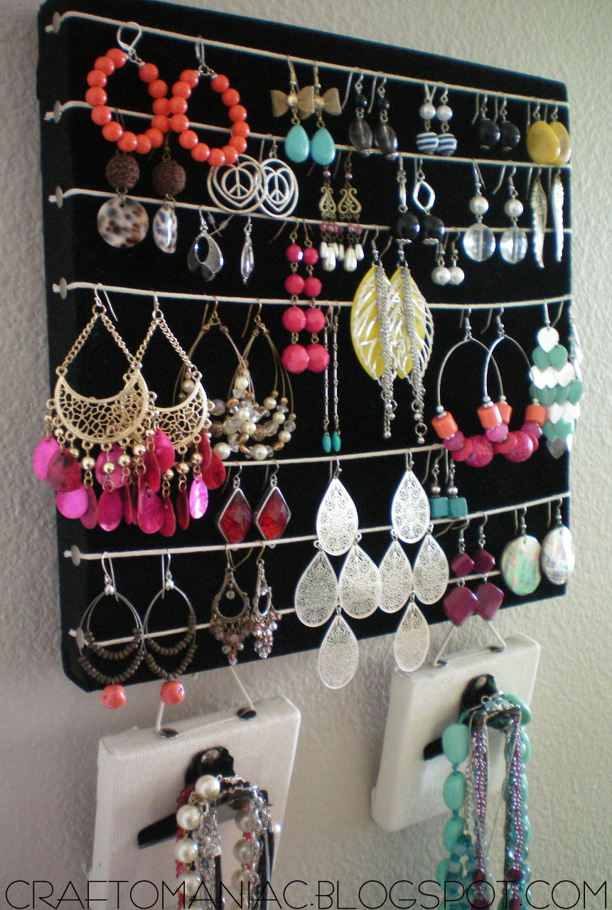 Diy Necklace Holder Getting Organized Diy Earring Necklace Holder Craft O Maniac