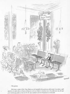 illustration by french illustrator sempe of paris cafe les deux magots