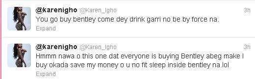 Karen Igho Disses Celebrities That Recently Bought Bentley's On Twitter