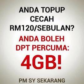 TOPUP RM120 - FREE 4GB DATA ?? WOWW HEBAT