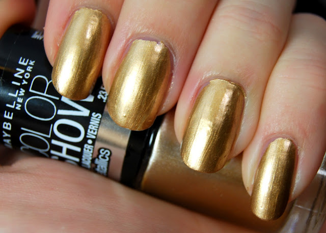 Maybelline Color Show Nail Lacquer: The Metallic Collection in Bold Gold Review and Swatches