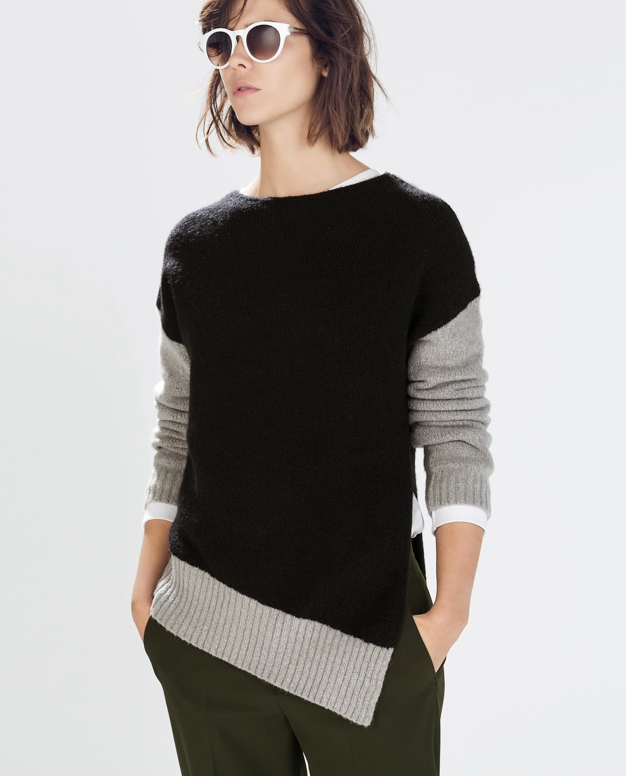 zara black and grey sweater