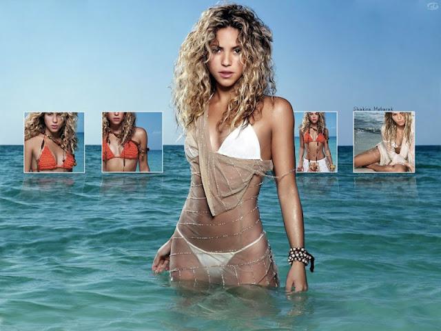 Shakira sexy in white bikini