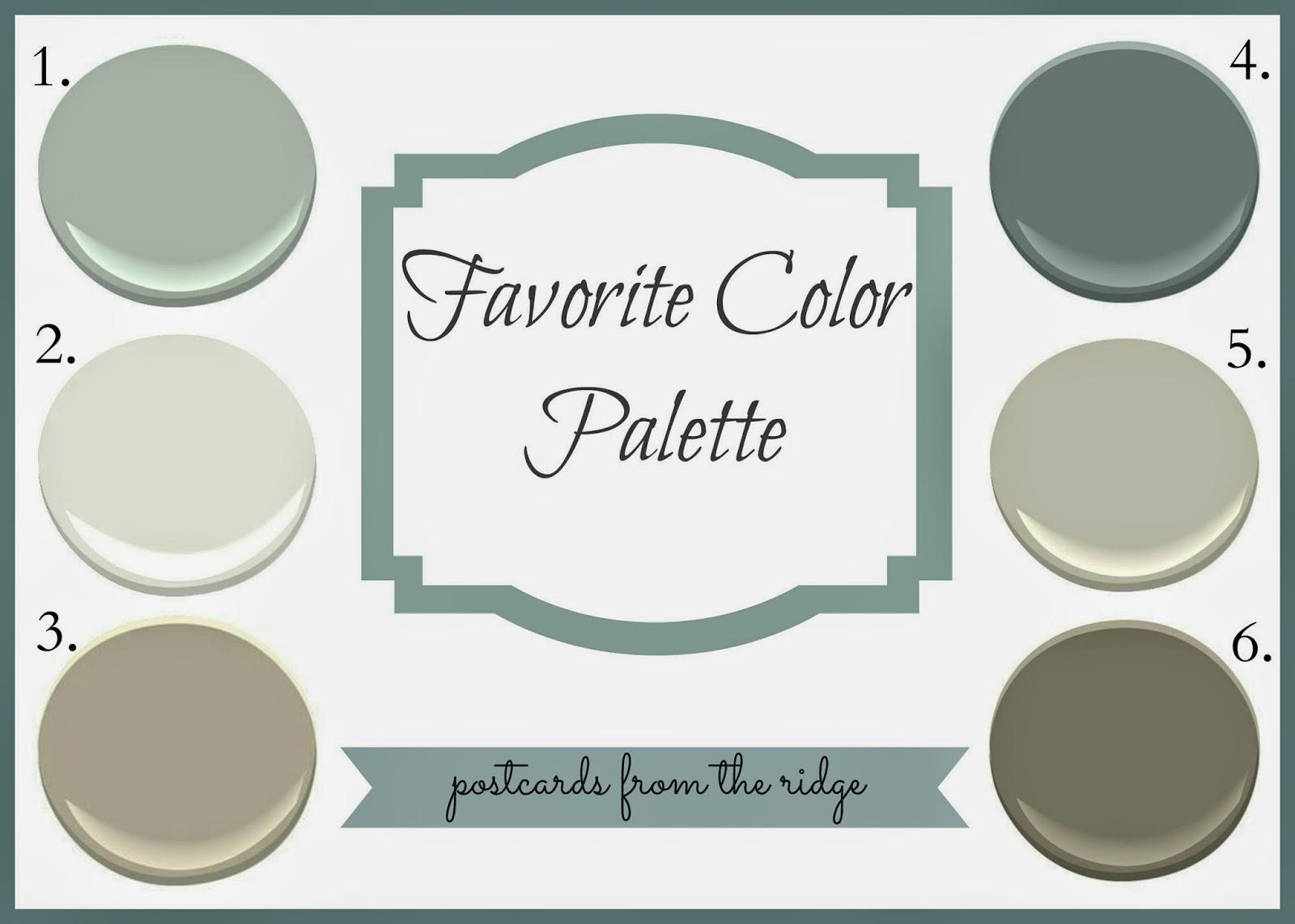 Revere Pewter Favorite Color Palette Postcards From