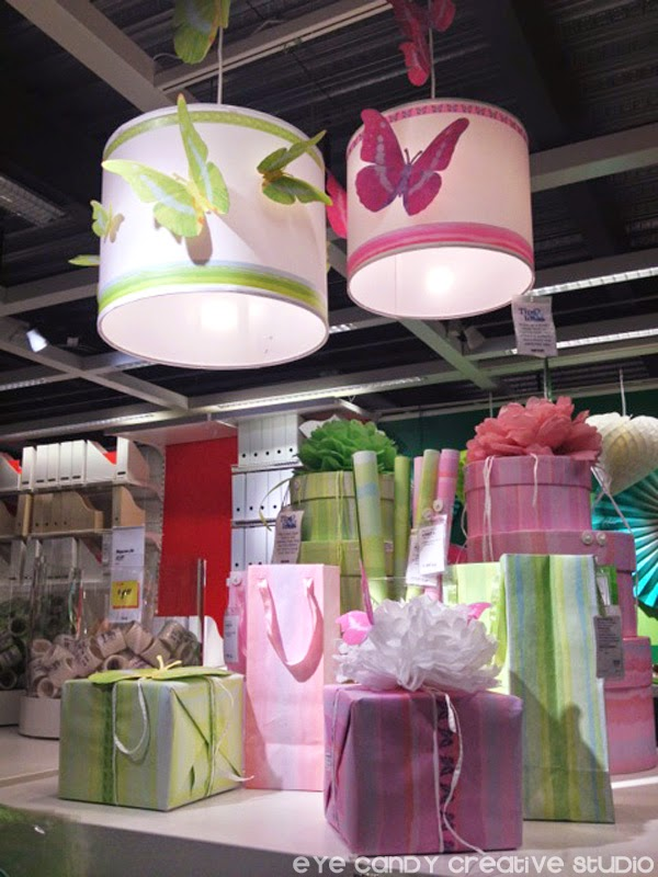 IKEA party decor, butterflies, lampshades, pink & green, gift wrap, gift bags