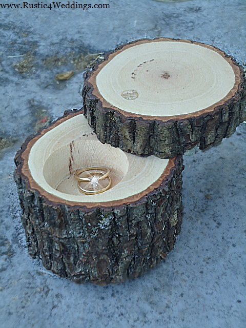 his and hers rustic wedding ring holders buy now - Wedding Ring Holder
