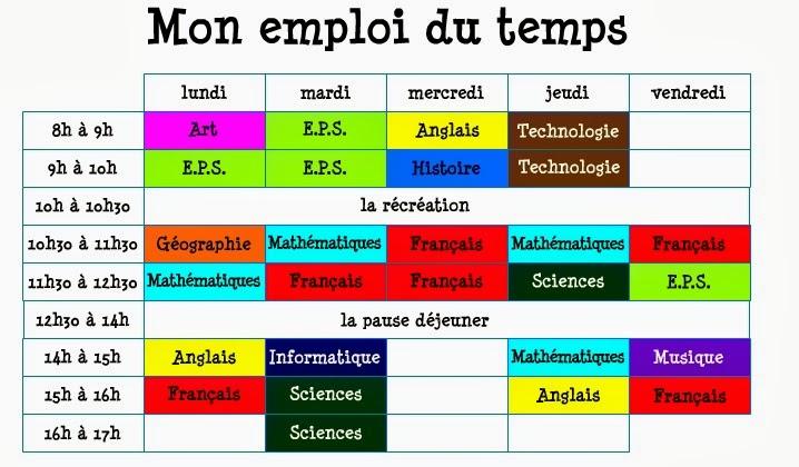 Emploi Du Temps Dun 6 Eme | New Calendar Template Site