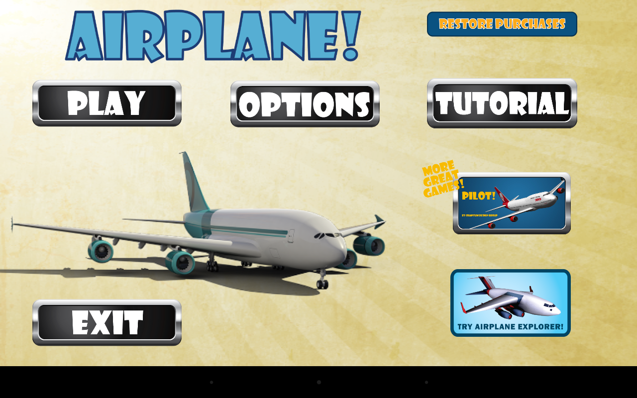 Airplane: Launch screen