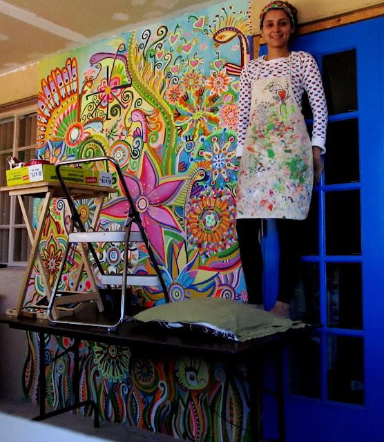 Koleia 39 s art flores en el desierto - Pintar mural en pared ...