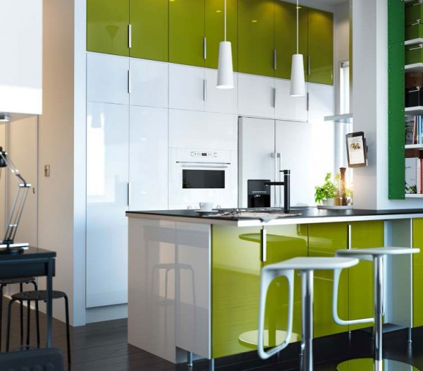 modern kitchen design ideas with bright colors in a small room by ikea
