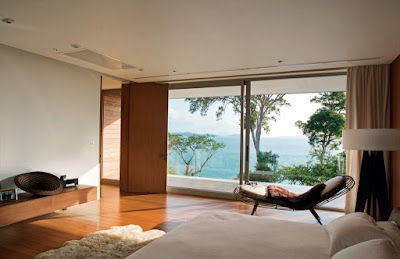 The master bedroom suite has stunning views to the horizon