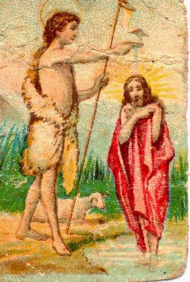 Miniatura del bautismo de Jesús