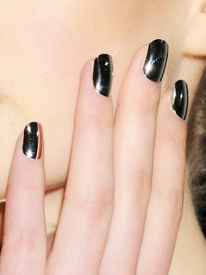 Black Metallic Nail Art