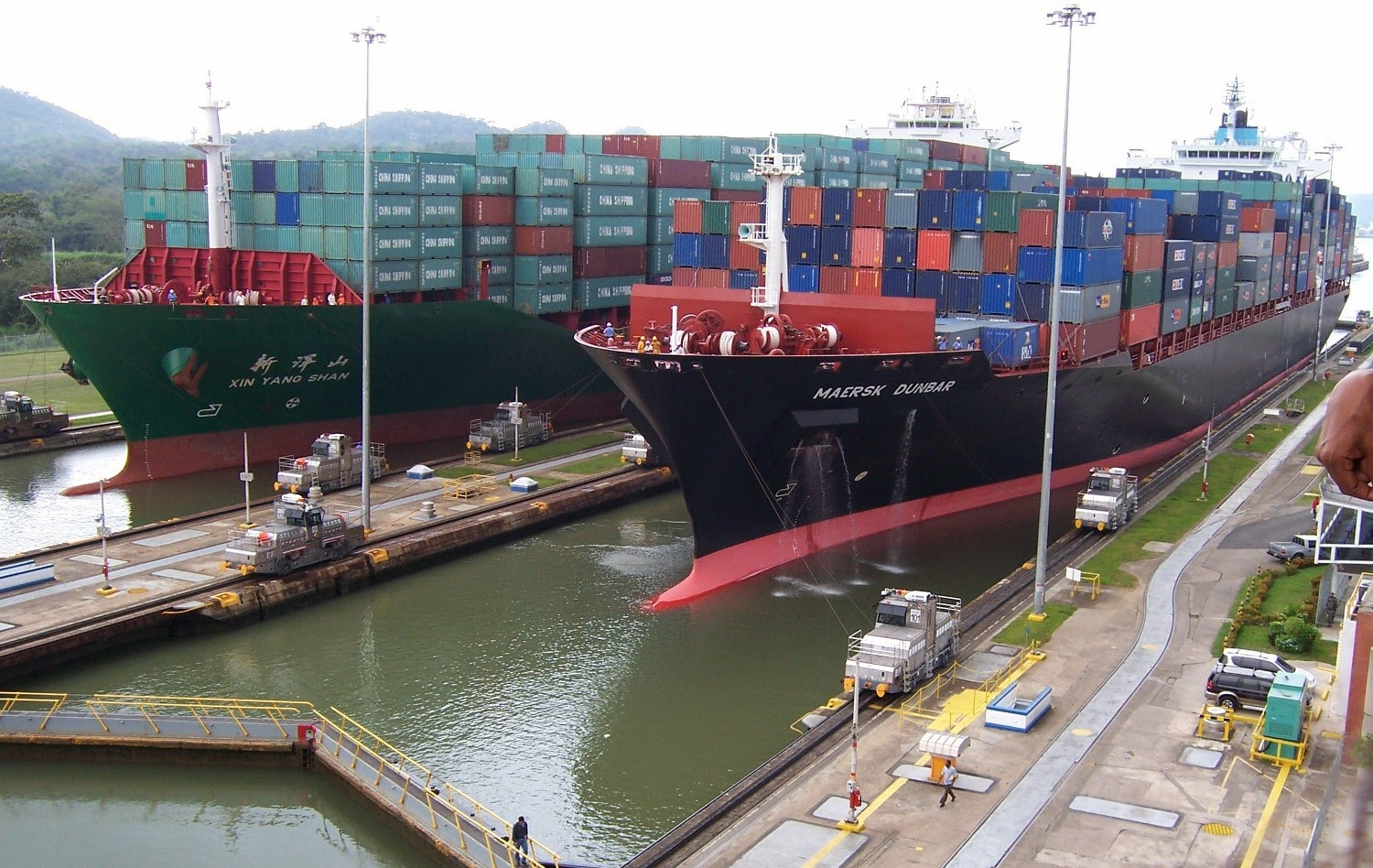 Figure 1: Cargo ships crossing the great Panama Canal
