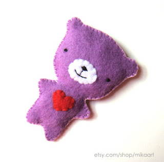 Purple Teddy Bear on Mika Art Blog  Purple Teddy Bear Felt Brooch