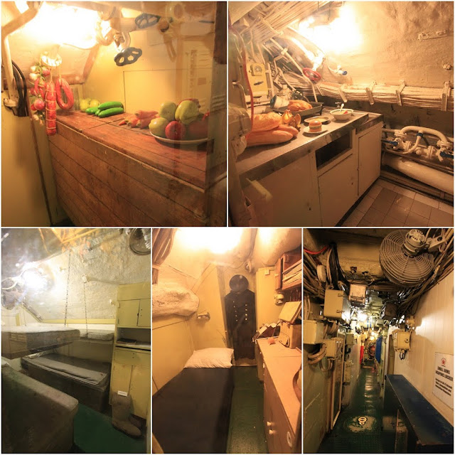 The corridor is narrow with limited space to work in the kitchen can be seen in the Russian Scorpion Submarine at Long Beach, Long Angeles, California, USA