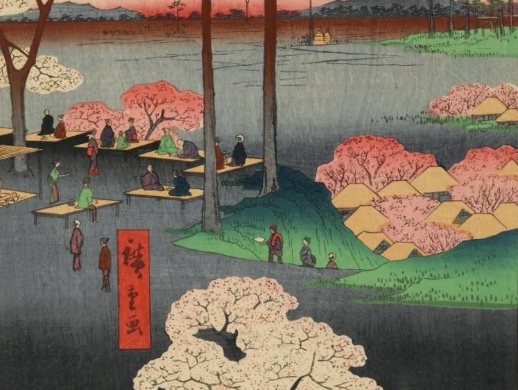 ©Utagawa Hiroshige - Cien famosas vistas de Edo. Primavera. Ilustración | xilografia | ukiyo-e. La cuesta de Suwa en Nippori (detalle)
