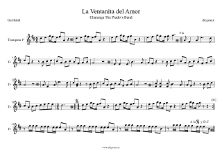 Partitura de La Ventanita del Amor de Garibaldi para Trompeta Primera La Ventanita del Amor Partitura para Charanga de Garibaldi Score Trumpet 1º Sheet Music. En esta partitura la Trompeta hace la Melodía Principal.