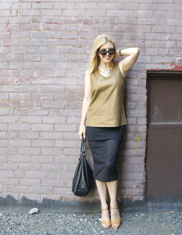 leather tank top, mesh pencil skirt, kate spade saturday circle sunglasses, ecco owen sandals