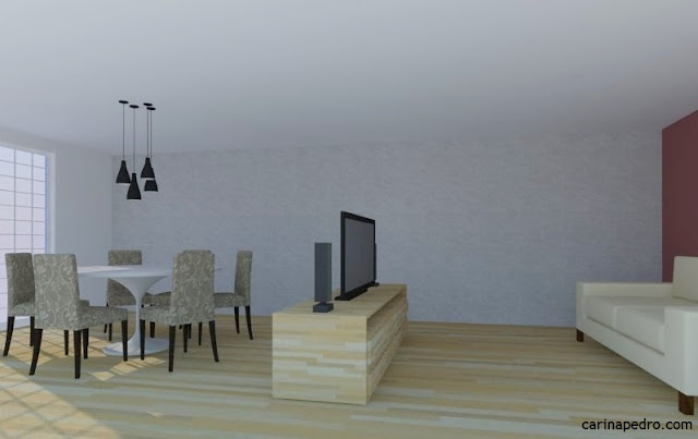 Estudo de Carina Pedro sobre posicionamento da TV na sala de estar