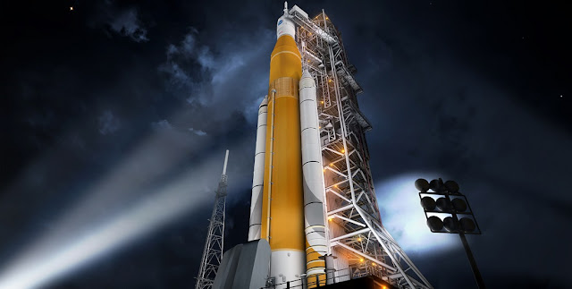 Artist concept of the SLS Block 1 configuration. Image Credit: NASA/MSFC